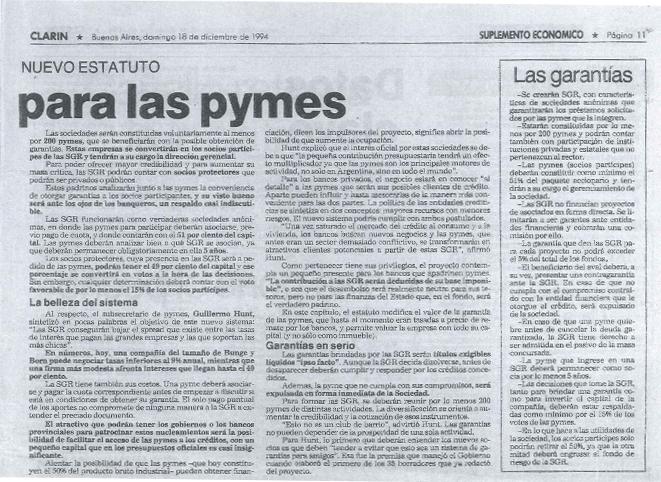 Guillermo Hunt diario Clarín - Buenos Aires, domingo 18 de diciembre de 1994