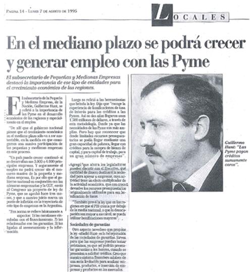 Guillermo Hunt - Diario Los Andes, Lunes 7 de Agosto de 1995