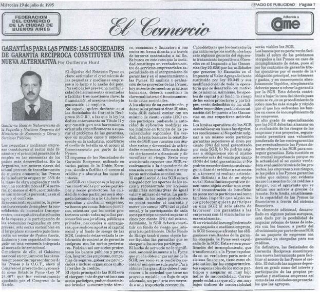 Guillermo Hunt El Comercio, Miércoles 19 de Julio de 1995.